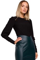 Czarna prążkowana bluzka z bufiastym rękawem