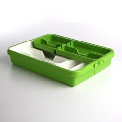 Wkład na sztućce przegródki do szuflady  organizer kuchenny tontarelli regulowana szerokość 32-55 cm, biało-zielony