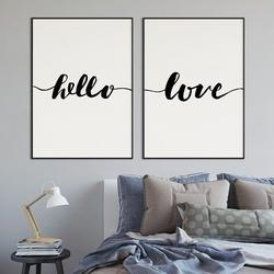 Hello amp; love - komplet plakatów w ramach , kolor ramki - biały, wymiary - 70cm x 100cm 2 sztuki