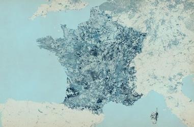 Francja - kolorowa mapa - fototapeta