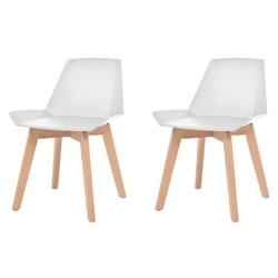Vidaxl krzesła stołowe, 2 szt., białe, plastik