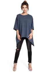 Granatowa luźna bluzka-tunika z wydłużonymi bokami