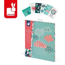 Zestaw kreatywny bajeczne hafty pocztówki, janod, 6 lat +