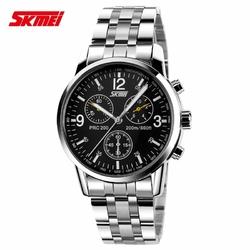 Zegarek męski SKMEI 9070 bransoleta srebrna black - black steel