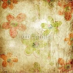 Obraz na płótnie canvas czteroczęściowy tetraptyk vintage shabby kwiatowy papieru