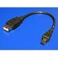 Kabel USB 2.0, USB mini 5pin M- USB A F, 0.2m, czarny