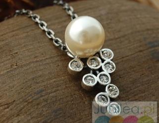 CELEBRA - srebrny wisiorek z perłą i kryształami