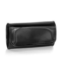 Skórzany portfel damski lakierowany brodrene a-14 czarny - czarny