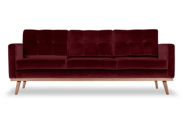 Sofa fern z funkcją spania welurowa 3-osobowa  welur bawełna 100 bordowy