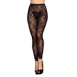Sexshop - rajstopy  bez stopek - footless tights black floral - online