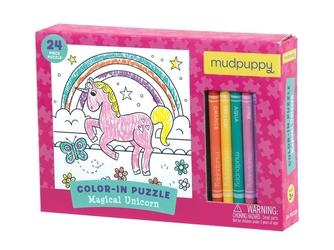 MAGICZNY JEDNOROŻEC puzzle kolorowanka z kredkami