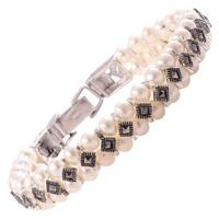 Daria srebrna bransoletka z markazytami i perłami