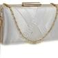 Biała torebka wieczorowa- przekładane paski z frędzelkiem