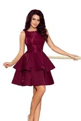 Bordowa wyjściowa podwójnie rozkloszowana sukienka z koronką