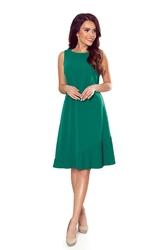 Trapezowa sukienka z plisowanym dołem - zielona