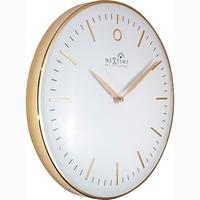 Zegar ścienny sterowany radiowo, złoty glamour nextime 30 cm, biały cyferblat 3256 wirc