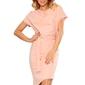 Brzoskwiniowa asymetryczna sukienka z paskiem