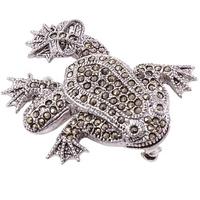 Baxi srebrna broszka z markazytami, żaba