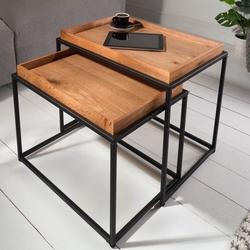 Prostokątny stolik kawowy elements z dębowym blatem  zestaw 2 szt.