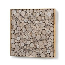 Drewniana dekoracja ścienna jimmy 49x4 cm beżowa