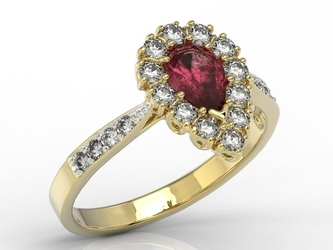Pierścionek z żółtego złota z rubinem i diamentami 0,48 ct wzór ap-29z-r - żółte z rodowaniem  rubin