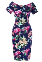 Ołówkowa sukienka carmen z falbaną | granatowa w kwiaty