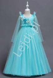 Tiulowa turkusowa długa sukienka dla dziewczynki 152