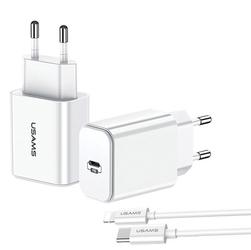 Usams ładowarka sieciowa 1xusb-c 3a + lightning charging biała