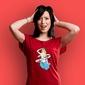 Syrenka ustka t-shirt damski czerwony xxl