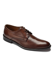 Eleganckie brązowe buty biznesowe typu derby ze skóry nappa 44,5