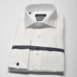 Elegancka biała koszula męska taliowana slim fit, mankiety na spinki 45