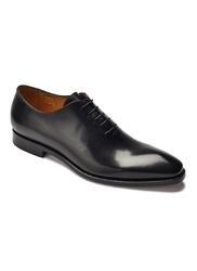 Eleganckie czarne skórzane buty męskie typu lotniki 43
