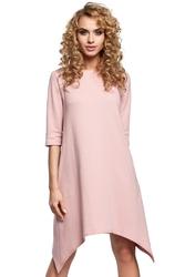 Asymetryczna bawełniana sukienka na co dzień różowa m291