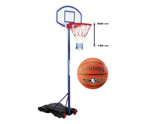 Zestaw kosz do koszykówki regulowany przenośny stojak hudora hornet 205 + piłka spalding nba silver outdoor