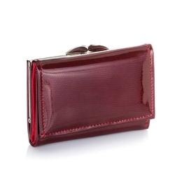 Duży portfel damski ze skóry lakierowanej brodrene a-21 czerwony