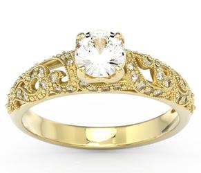 Pełen blasku pierścionek zaręczynowy z żółtego złota z zirconem i diamentami bp-50z - żółte  zirkon sparklit