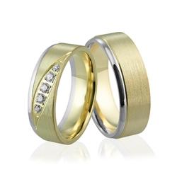 Obrączki ślubne dwukolorowe z brylantami - au-930