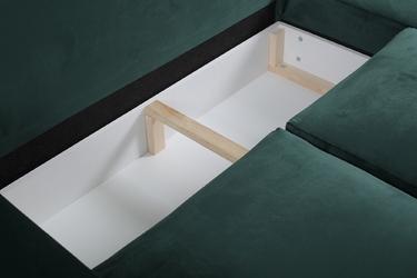 Narożnik rozkładany vers 2.0 z pojemnikami welur zielony lewy