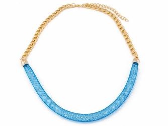 NASZYJNIK złoty łańcuszek NIEBIESKI - BLUE