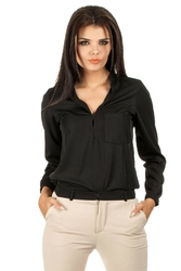 Czarna koszulowa bluzka ze stójką