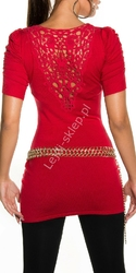 Czerwona tunika damska  tunika z ozdobną koronką na plecach | czerwone młodzieżowe swetry damskie 1027