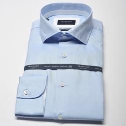 Elegancka błękitna koszula męska taliowana slim fit z białymi wstawkami 38