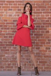 Czerwona Koktajlowa Sukienka z Wyciętymi Ramionami
