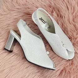 Sandały damskie zabudowane na słupku srebrne jezzi
