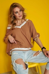 Bawełniana bluzka oversize ze ściągaczami - kamelowa