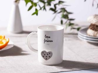 Kubek porcelanowy do kawy i herbaty altom design forever love dek. szare serce 360 ml opakowanie prezentowe