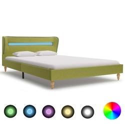 Vidaxl rama łóżka z led, zielona, tapicerowana tkaniną, 140 x 200 cm