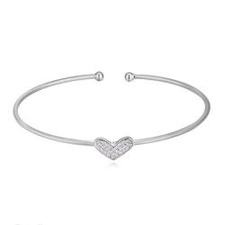 Bransoletka sztywna cyrkonie serce srebrna - srebrna