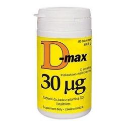 D-max 30mcg x 90 tabletek do żucia o smaku truskawkowo-maliowym