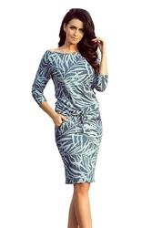 Niebieska midi sukienka ściągana w jeansowe liście